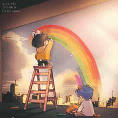 Taekook rainbow of love Fanart Bts, Jungkook Fanart, Vkook Fanart, Bts Bangtan Boy, Taekook, Vkook Memes, Bts Memes, Bts Pictures, Photos