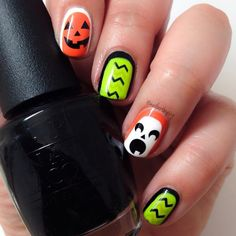 cute halloween nails - ghosts and pumpkins!