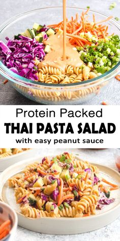Protein Packed Thai Pasta Salad is a 20 minutes healthy dinner recipe. This vegan, gluten free, and grain free dish is made with garbanzo bean pasta and vegetables like cabbage, carrots and cucumber. Healthy Dinner Recipes, Whole Food Recipes, Cooking Recipes, Healthy Recipes, Easy Healthy Dinners, Meatless Dinner Ideas, Easy Veggie Meals, Healthy Meala, Healthy Chicken Meals