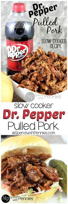 Dr. Pepper Pulled Pork!  This is an amazing slow cooker recipe and I LOVE coming home to dinner in the crock pot!!  This works with root beer too!! <3  YUM! Crock Pot Pulled Pork, Root Beer Pulled Pork, Pork Roast Crock Pot, Pork Loin Recipes Slow Cooker, Easy Crockpot Pulled Pork, Pulled Pork Sauce Recipe, Easy Pork Recipes, Bbq Pork Roast, Crockpot Barbeque Pork