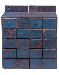 Hanging Apothecary Cupboard Mid c., blue paint h, 23 w, 8 d. Primitive Furniture, Primitive Antiques, Antique Furniture, Painted Furniture, Cupboard Shelves, Estilo Shabby Chic, Wall Boxes, Small Drawers, Antique Paint