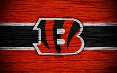 Download wallpapers Cincinnati Bengals, NFL, 4k, wooden texture, american football, logo, emblem, Cincinnati, Ohio, USA, National Football League, American Conference