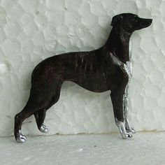 Greyhound Brindle White Brooch Dog Breed Jewellery Handpainted Handcrafted Resin
