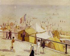 En été, la plage des Sables d'Ozone. / In summer, the beach of Les Sables D'Olonne. / Post impressionnism. / By Albert Marquet.