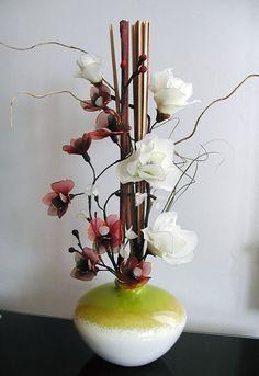 Handmade Dark-red Orchids Arrangement por LiYunFlora en Etsy