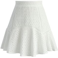 Chicwish Sparkling Eyelet Frill Hem Skirt in White ($45) ❤ liked on Polyvore featuring skirts, white, ruffle hem skirt, eyelet skirt, white skirt, flounce hem skirt and sparkle skirts