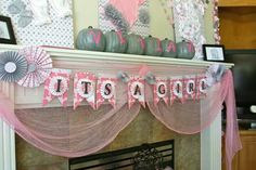 It's a girl! Pink and grey baby shower