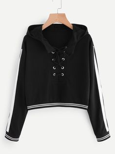 Shop Eyelet Lace Up Stripe Trim Hoodie online. SheIn offers Eyelet Lace Up Stripe Trim Hoodie & more to fit your fashionable needs. Crop Top Outfits, Cute Casual Outfits, Girl Outfits, Fashion Outfits, Romwe, Hooded Sweatshirts, Hoodies, Cropped Hoodie, Cropped Tops