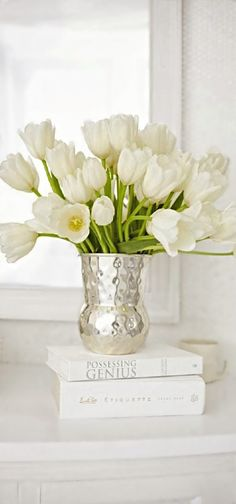 white tulips with silver