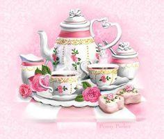 Tea: Tea Set, by Penny Parker. Decoupage Vintage, Vintage Diy, Vintage Cups, Penny Parker, Victorian Cottage, Tea Gifts, Tea Art, My Cup Of Tea, High Tea
