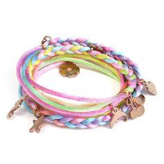Ettika :: Bracelets :: Wraps :: Pastel Braided Wrap Bracelet with Rose Gold Charms
