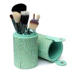 8 colores cosméticos maquillaje polvo cepillo cepillos caja caja de almacenamiento