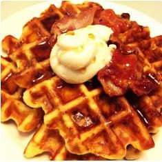Savory Bacon & Cheddar Belgian Waffles with Whipped Maple Butter which, uh oh, might really be so good I will need to eat two! International Waffle Day, Sour Cream Coffee Cake, Belgian Waffles, Breakfast Menu, Pancakes And Waffles, I Love Food, Brunch Recipes, Bacon, Favorite Recipes