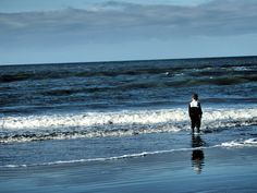 Little boy with his feet in the North Sea