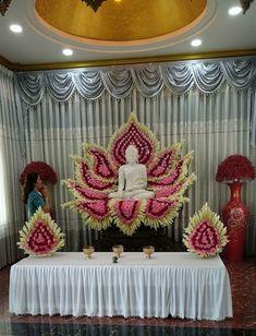 Diy Diwali Decorations, Indian Wedding Decorations, Festival Decorations, Flower Decorations, Ganapati Decoration, Decoration For Ganpati, Buddha Flower, Diwali Diy, Puja Room