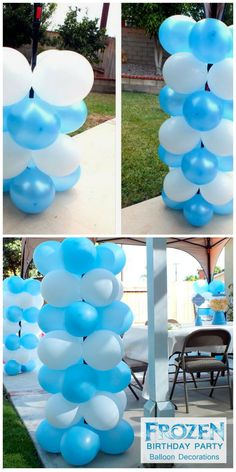 "How To Make Disney ""Frozen"" Balloon Columns ~ Change up the colors for any theme party!"