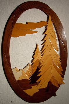 Wood Intarsia Forest Scene