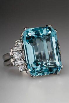 1950's Aquamarine Ring - I think I need this one. No. I know I do!