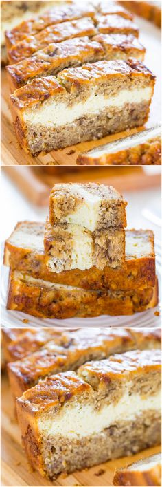 Cream Cheese-Filled Banana Bread - Banana bread that's like having cheesecake baked in! Soft, fluffy, easy and tastes ahhhh-mazing! (Leuk idee! Alleen nog VZL/Paleo proof maken...)