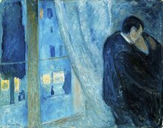 Kiss by the window by Edvard Munch, 1892.