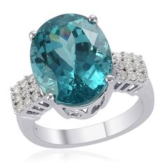 Liquidation Channel | 14K White Gold Madagascar Cerulean Blue Apatite and Diamond Ring (=)