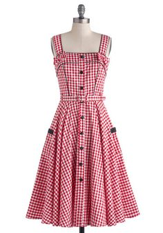 Spin There, Done That Dress - Cotton, Long, Woven, Black, White, Checkered / Gingham, Bows, Buttons, Pockets, Casual, A-line, Spaghetti Stra...
