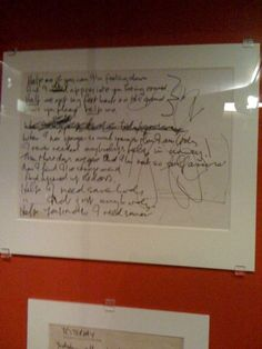 I love the manuscript exhibit at the British Museum, which includes a collection of handwritten Beatles lyrics.