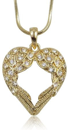 Crystal Guardian Angel Heart Wings/Wing Gold Tone Pendant Necklace Gift Boxed >>> Details can be found by clicking on the image. (This is an affiliate link and I receive a commission for the sales)
