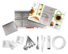 Cuisine R-evolution Molecular Gastronomy Kit - Turn your kitchen into a food laboratory with this how-to kit that teaches you how to transform liquids, like honey, into jelly-like cubes, spherify chopped produce into flavor-packed beads, or even morph melted chocolate into a delicate powder or spaghetti-like strands. ($60)