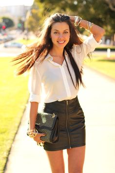 0d11ce73196 leather skirt. loose button up tucked or tied. gold accessories. Black  Leather Skirts