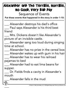 Alexander and the Terrible, Horrible, No Good, Very Bad Day Lesson Plan   Woo! Jr. Kids Activities Classroom Activities, Activities For Kids, Sequence Of Events Worksheets, Three Best Friends, Teacher Worksheets, Very Bad, Unit Studies, Lesson Plans, Jr