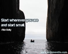 Start wherever you are and start small - Rita Baily Quote Inspirational Quotes Pictures, Picture Quotes, Inspire Me, Photos, Pictures