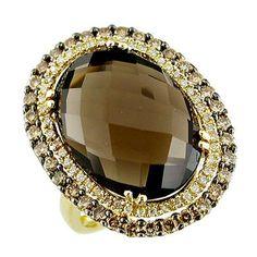 Ladies White Diamond & Brown Diamond & Smoke Topaz Ring in 14K Yellow Gold