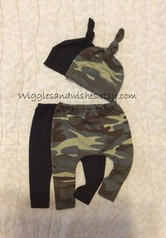Camouflage leggings and hat set of 2 infant by Wigglesandwishes