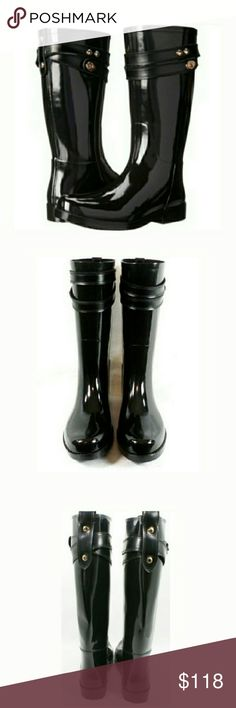"""COACH Glossy Finish Rainboots Equestrian-inspired waterproof rainboots have a stylish glossy finish, rubberized leather straps, and gleaming custom hardware. Pull-tabs in back help get them on and off with ease. Approximate measurements: 1.25"""" heel,12"""" shaft height, 13.5"""" opening. Coach Shoes Winter & Rain Boots"""