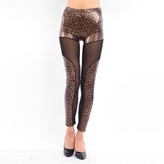 lady gothic leopard leggings women summer fake leather transparent mesh legging fashion party pant