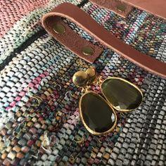Kilim&Leather bag + Khaki Cat's eye earrings 👌