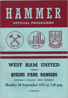 Vintage Football Programme - West Ham United v Queens Park Rangers, season, by DakotabooVintage, London Football, Coventry City Fc, West Ham United Fc, Rangers Football, Queens Park Rangers, Football Casuals, Football Program, Vintage Magazines, Program Design