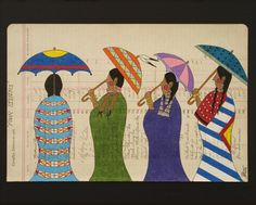 Four Sisters. Ledger Art by Pepion