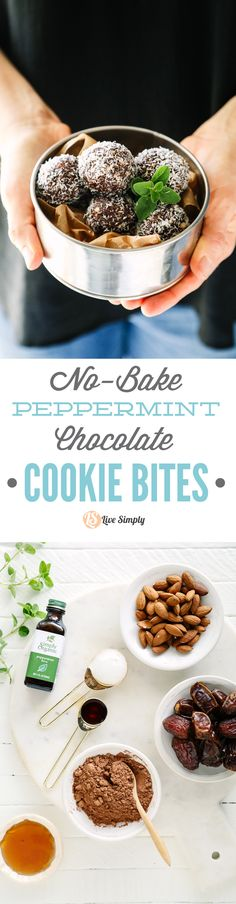 Naturally-sweetened, no-bake chocolate cookie bites that are healthy enough to enjoy as a snack or dessert. 10 minutes from start to finish!