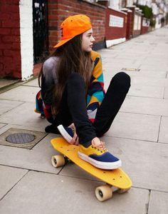 Skateboard, girl, yellow, orange, vans.