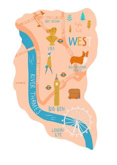 Naomi Wilkinson - Map of West London for The Clerkenwell Post London Map, West London, London City, London Illustration, Graphic Illustration, Me On A Map, Cities, Naomi Wilkinson, Map Art