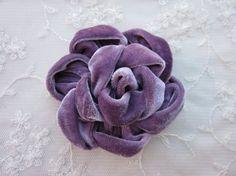 3.5 inch Grape Purple Velvet Ribbon Rose by delightfuldesigner