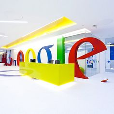 Primary colors-the Google English office reception area.