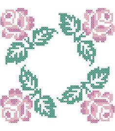 Stamped Quilt Cotton Block Fabric-18'' X 18'' Roses in 4 Corners Design