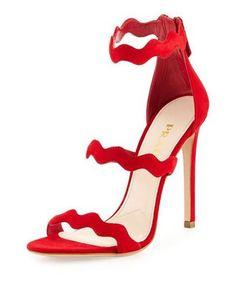 shoes heels prada love suede red zigzag kae strappy