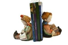 FREE SHIPPING Rare Vintage Gold Castle Reading Boy and Girl Ceramic Bookends Made in Japan
