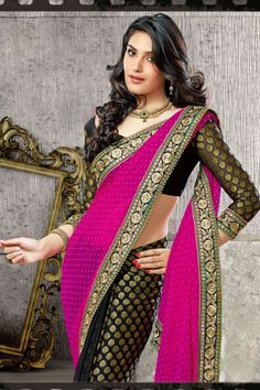 Black And Pink Color Heavy Work Designer Party Wear Heavy Work Lehenga Saree.
