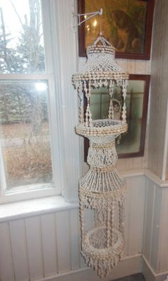 Large 5' Tall Antique Shell Macrame Plant Hanger