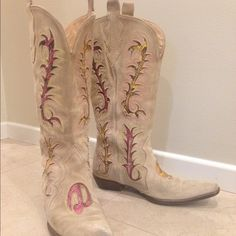 *SALE SALE* D&G suede snakeskin cowboy boots 6.5 7 Exquisitely crafted Dolce and Gabbana designer boots, runway edition. Supple leather lining, suede outer, stitched leather sole, stacked heel, beautifully detailed snakeskin filigree design. Neutral taupe tan with a pop of embroidered color. Size 36.5, runs large without socks (can definitely fit a 7, or wide foot). Pre-loved condition with no major flaws. No box or dust bag. Reposh. Dolce & Gabbana Shoes Heeled Boots